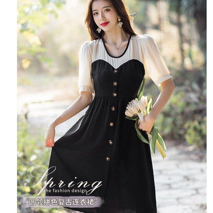 春夏雙配色美胸洋裝[99159-QF]灰姑娘