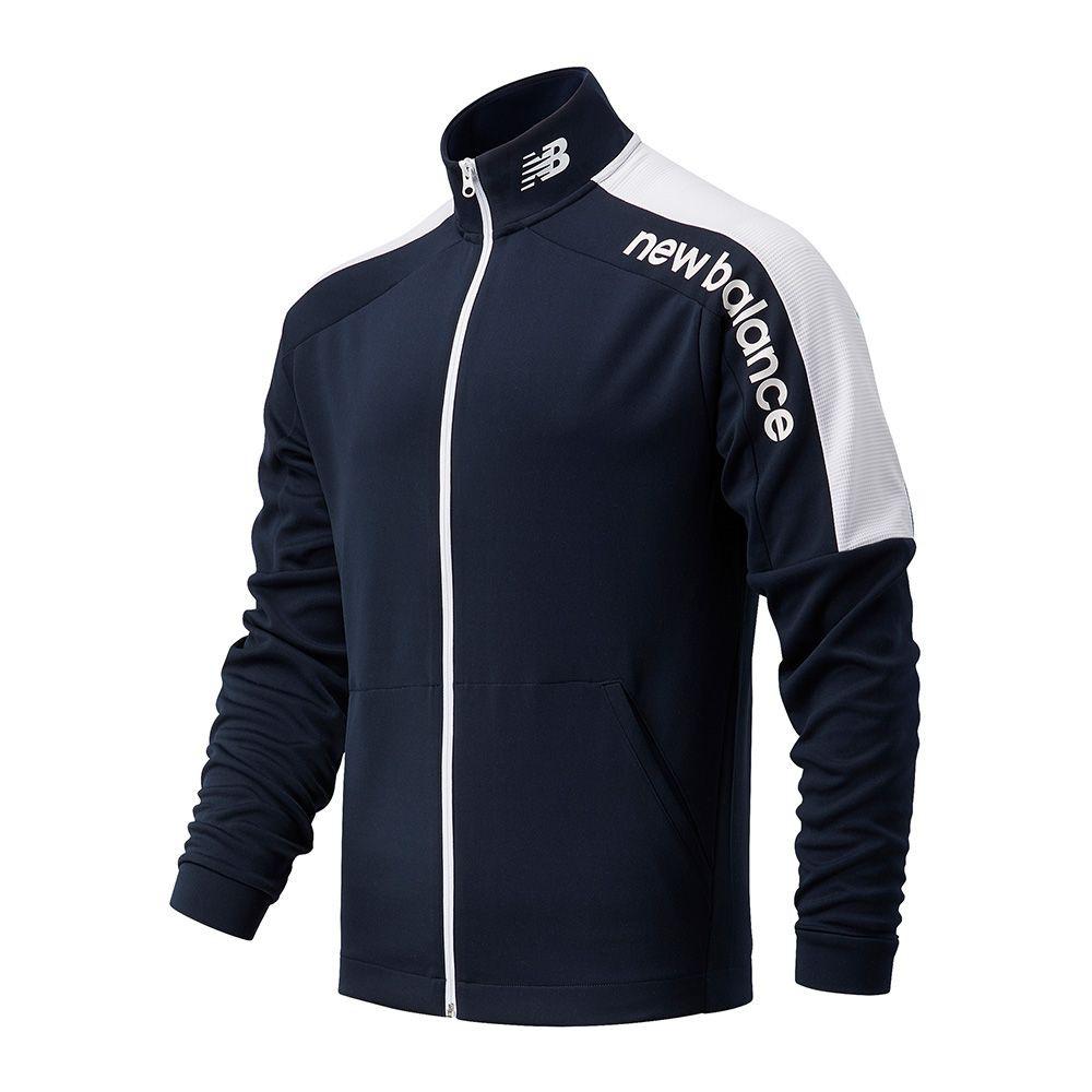 New Balance 男裝 外套 慢跑 乾爽 針織 LOGO 藍【運動世界】AMJ11090ECL