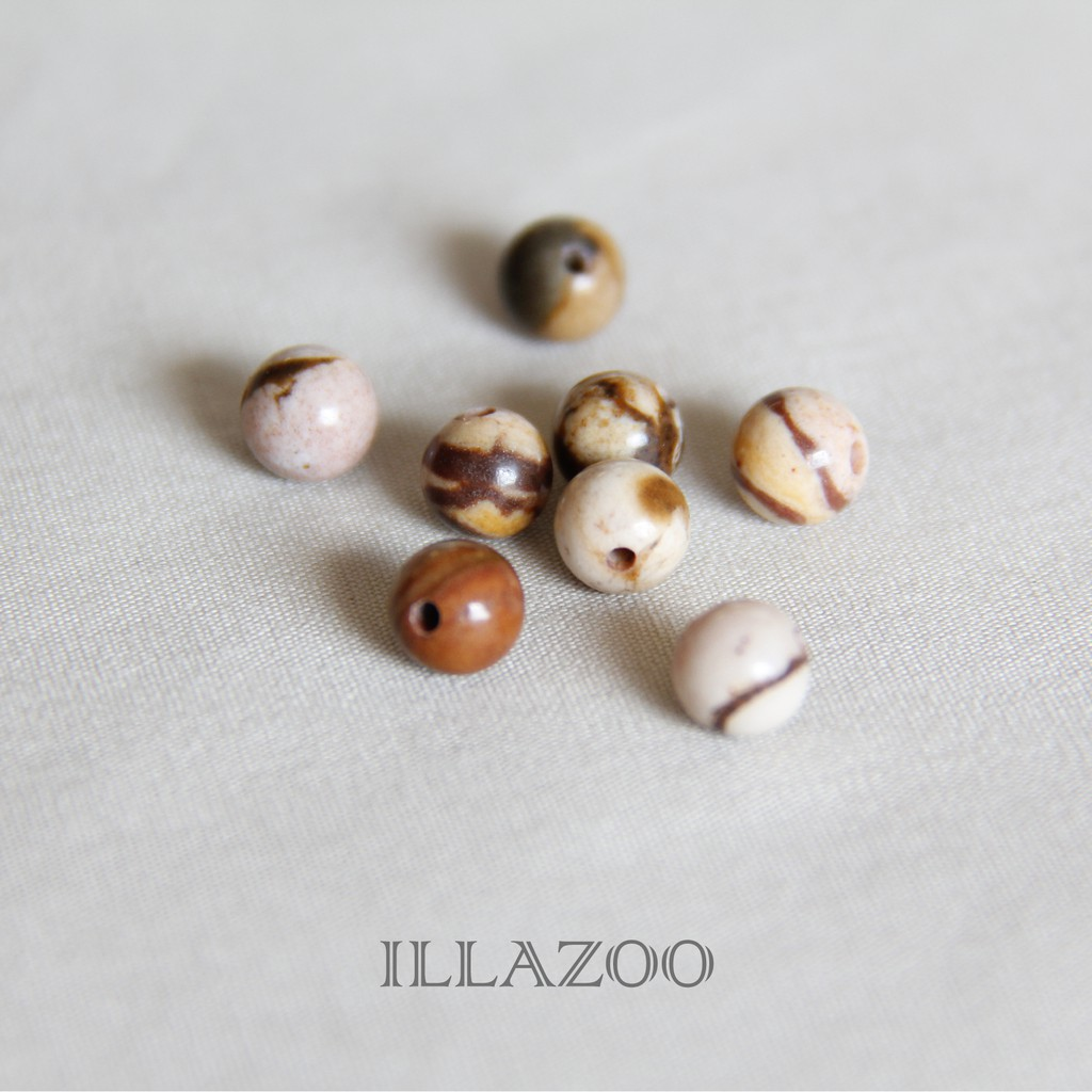 【澳洲斑馬圓石 6MM-8入】DIY 手工藝 飾品配件 批發 零售 珠子 串珠