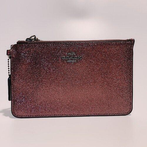 COACH 櫻桃紅色馬車 LOGO 金蔥閃亮設計手拿包-64585
