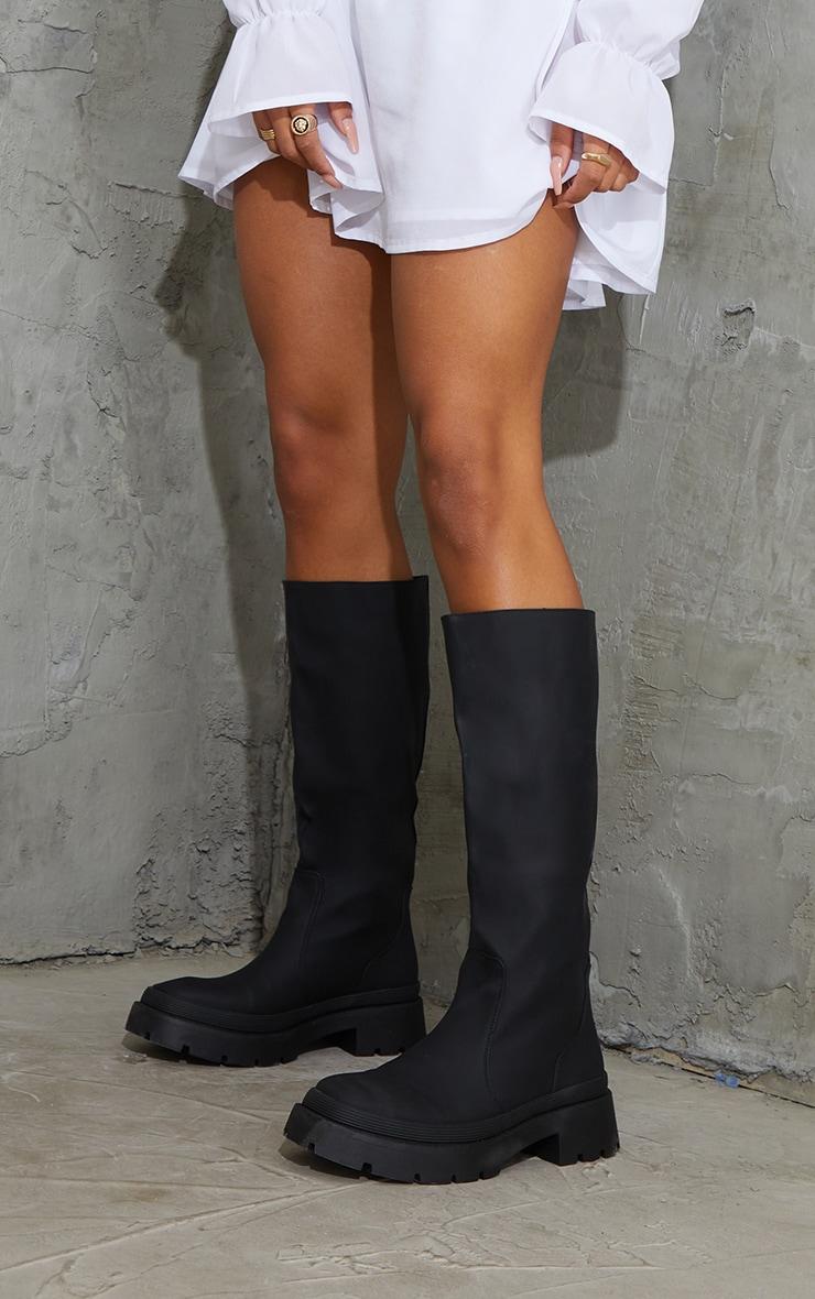 Black Knee High Rubberised Boots