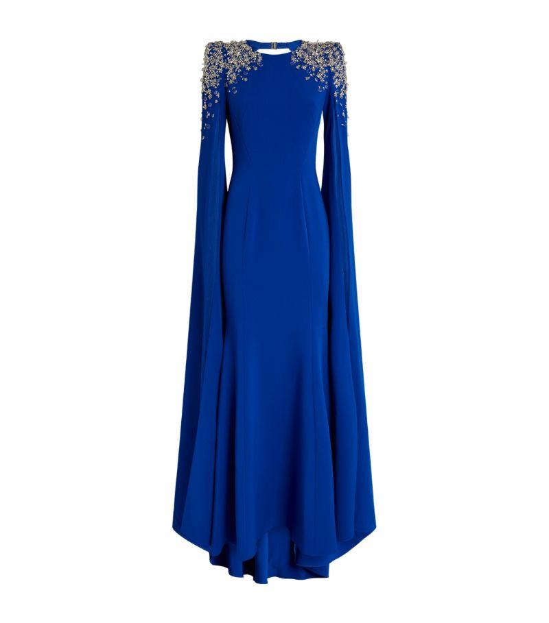 Jenny Packham Embellished Crepe Yva Caped Gown
