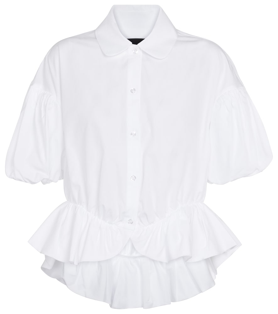 Ruffle-trimmed cotton blouse