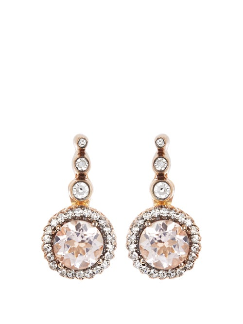 Selim Mouzannar - Beirut Diamond, Morganite & 18kt Gold Earrings - Womens - Pink Gold