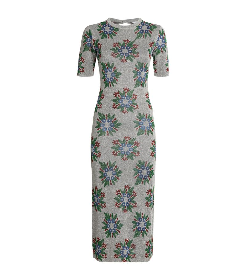 Paco Rabanne Lurex Geometric Floral Print Dress