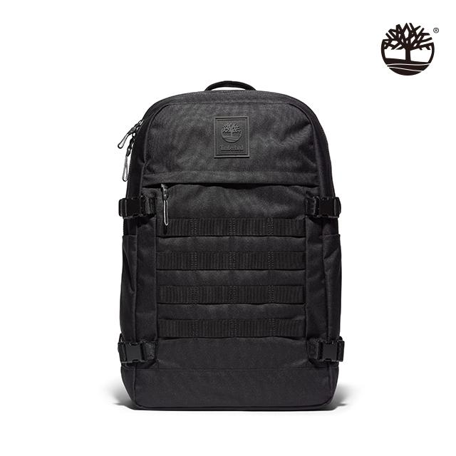 Timberland 中性款黑色正面擋雨片口袋雙肩後背包 A2J2Q001