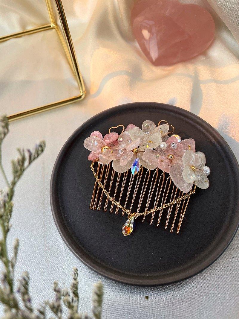 小小的心-粉紅繡球髮梳