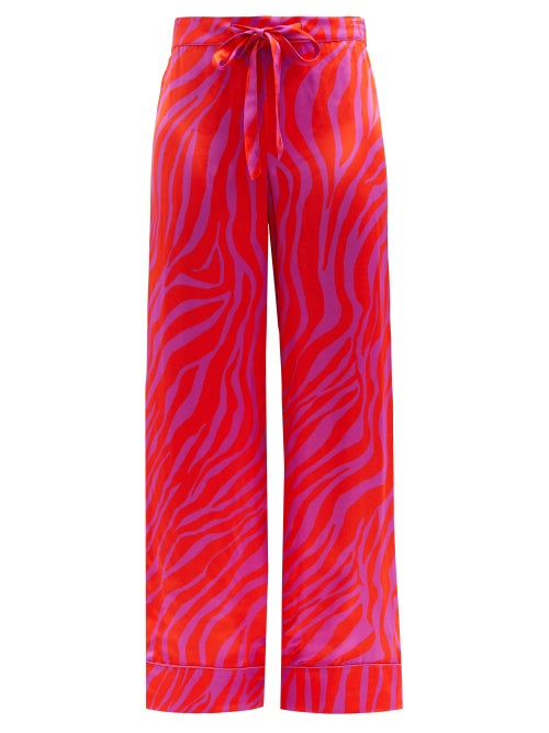 Halpern - Zebra-stripe Satin Trousers - Womens - Red Print