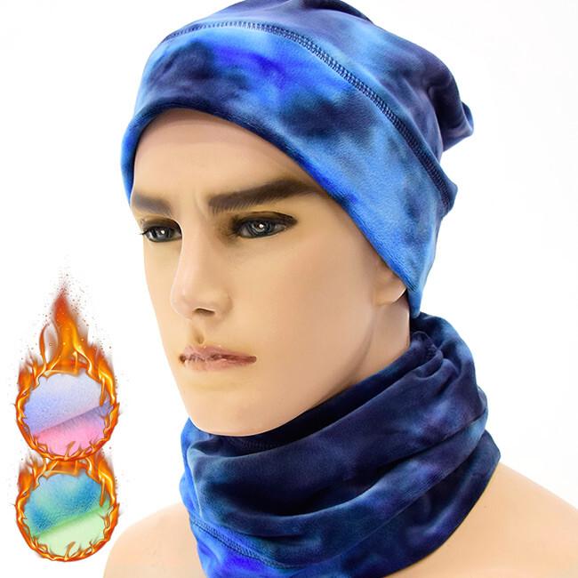 束口銀狐絨保暖脖圍脖套(加厚防寒頭套/絨毛圍巾/防風騎行面罩/保暖帽) e010-a2