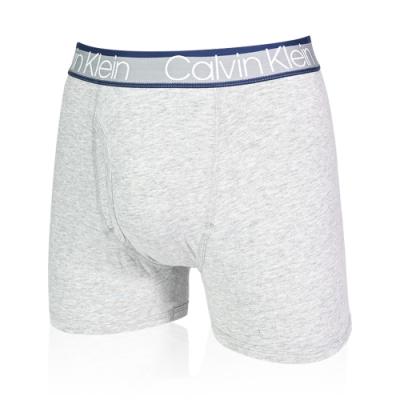 Calvin Klein 男內褲 雙色褲頭 高彈性合身平口內褲/CK四角褲-灰色