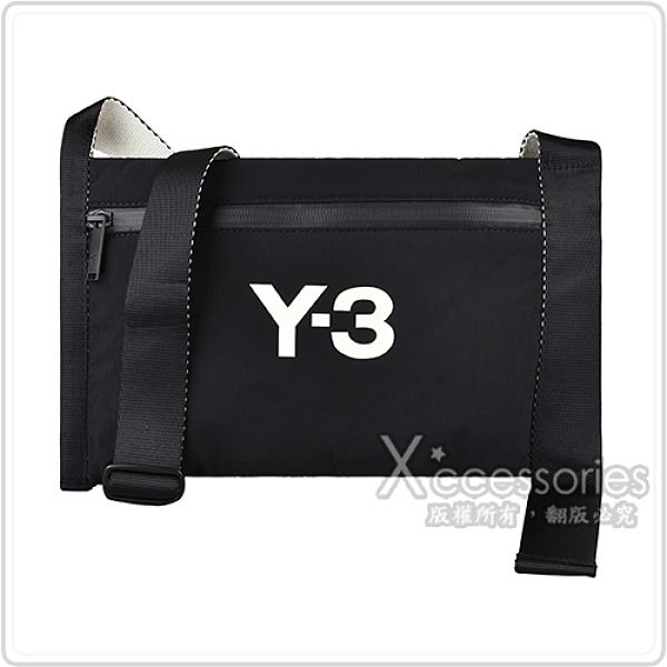 Y-3 CH3 SACOCHE奶油白字LOGO尼龍拉鍊肩背斜背包(黑)