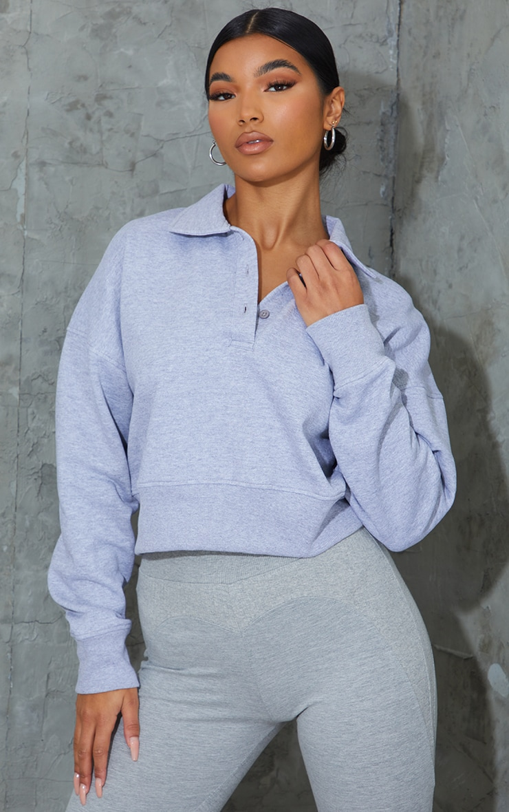 Grey Button Front Crop Polo Shirt