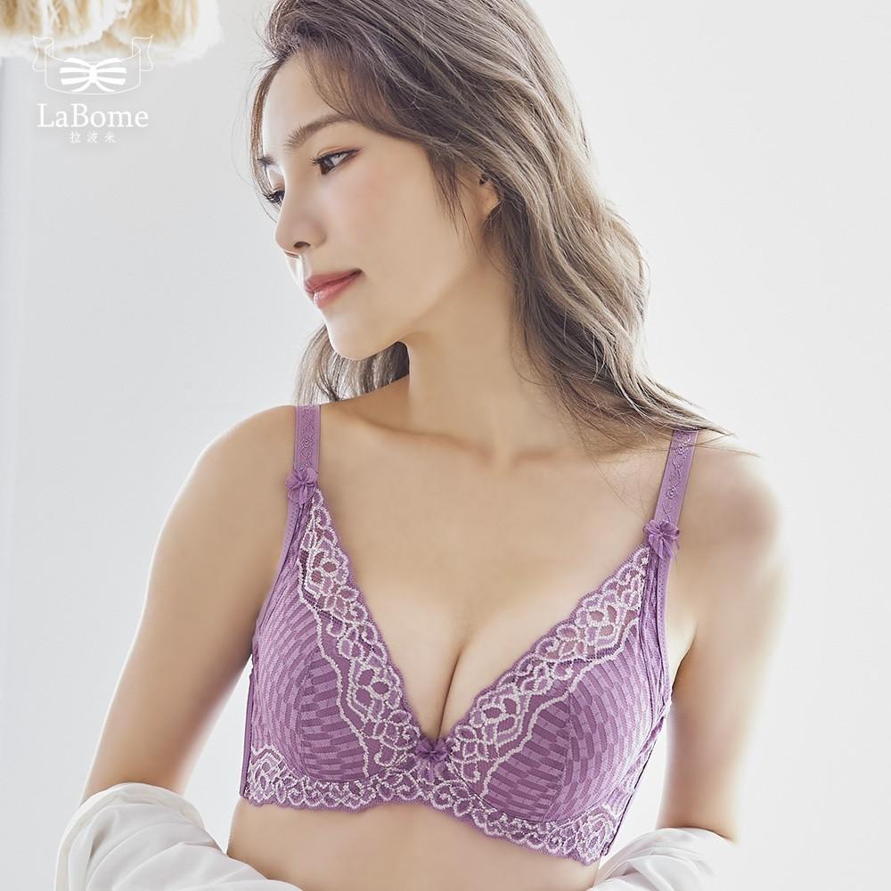 LaBome A50034【極致深V】 蕾絲內衣。深秋紫。BC罩杯