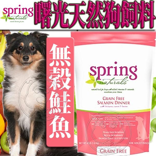 【培菓幸福寵物專營店】(送購物金200元)曙光Spring Natural》天然無穀鮭魚狗糧狗飼料-12lb