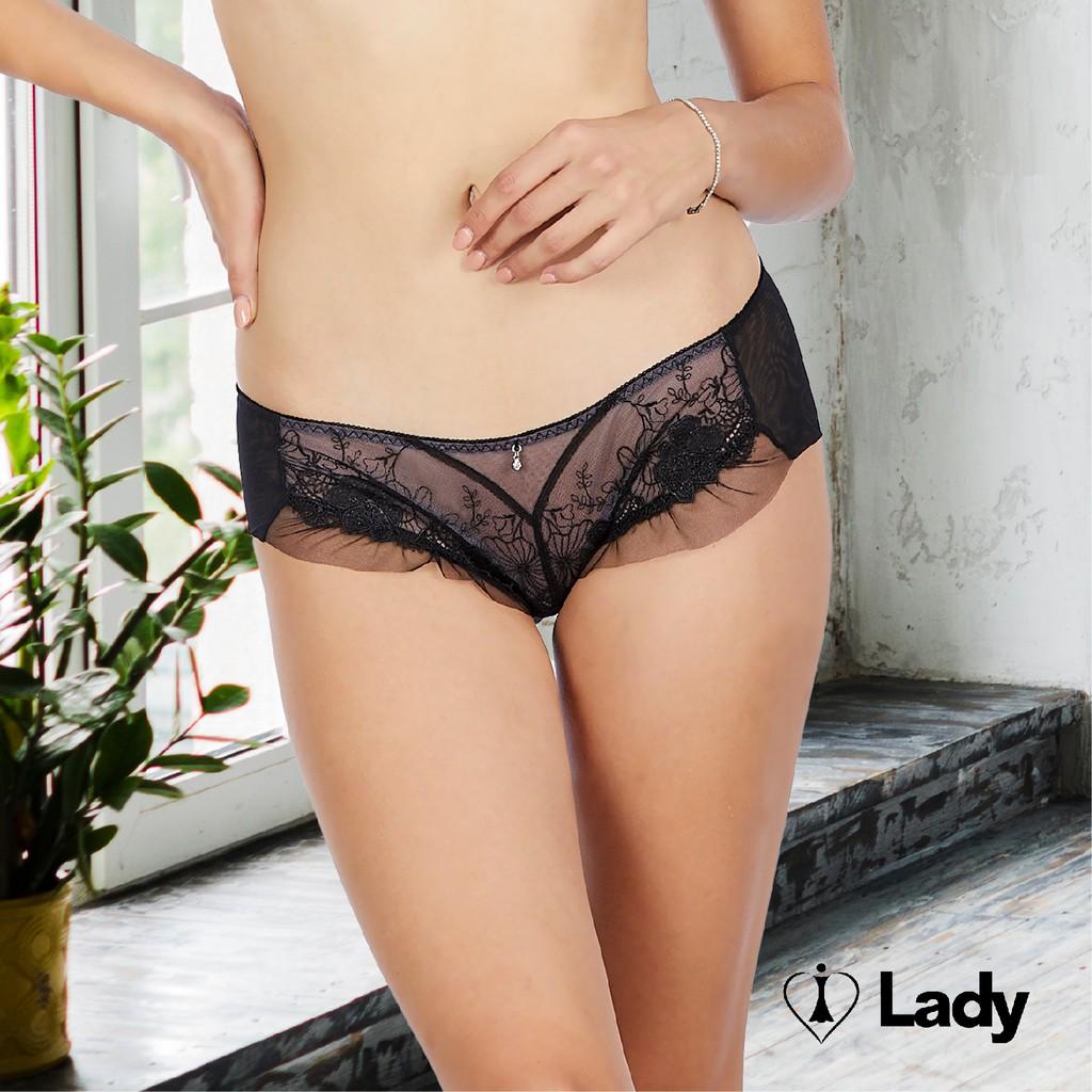 Lady 微醺夢境系列 刺繡 蕾絲 低腰 平口褲 (迷霧黑)