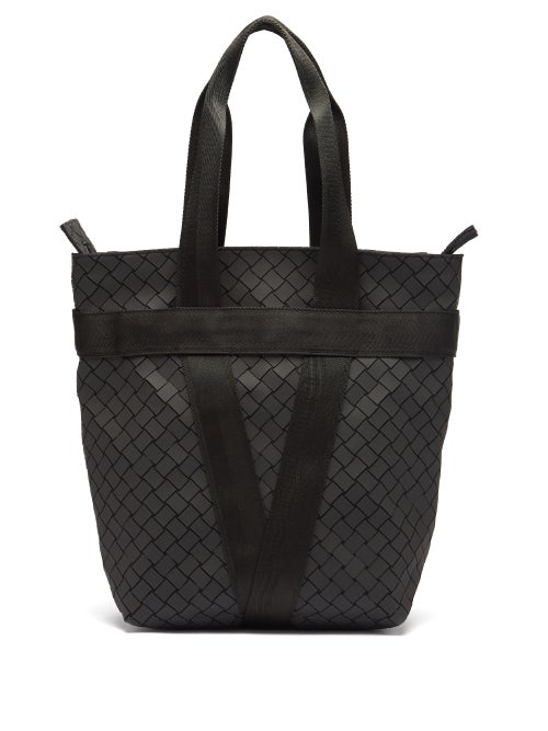 Bottega Veneta - Intrecciato Rubber Tote Bag - Mens - Black