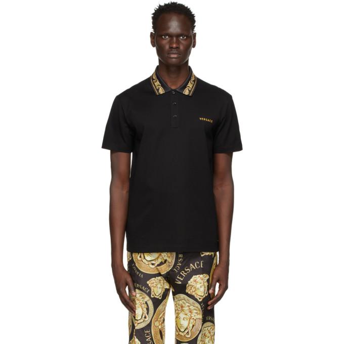 Versace 黑色 Barocco Studded Polo 衫