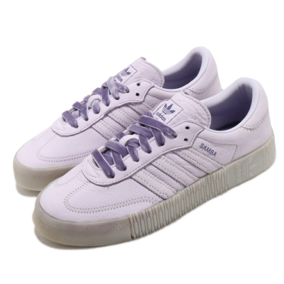 adidas 休閒鞋 Sambarose 復古 女鞋 海外限定 愛迪達 三葉草 皮革鞋面 特殊鞋帶 紫 EH1324
