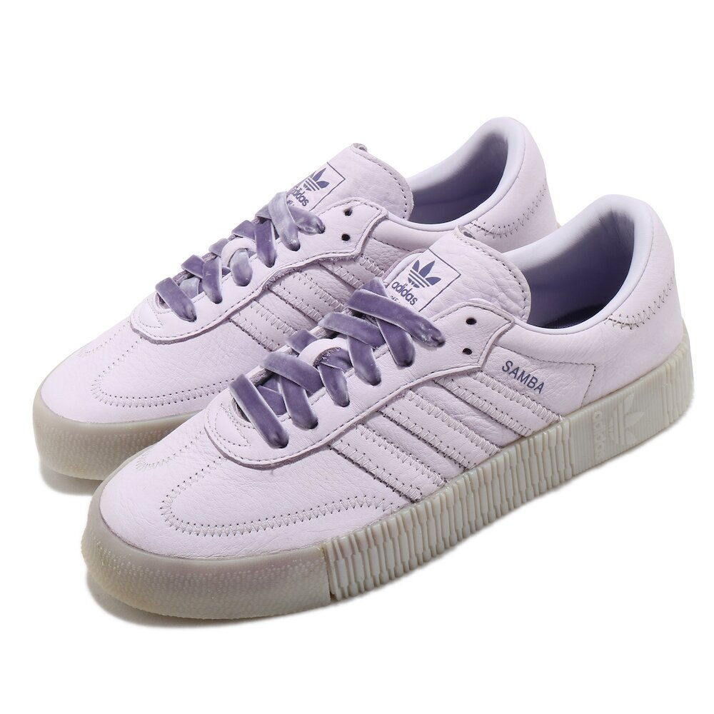 ADIDAS 休閒鞋 Sambarose 復古 女鞋 海外限定 愛迪達 三葉草 皮革鞋面 特殊鞋帶 紫 [EH1324]