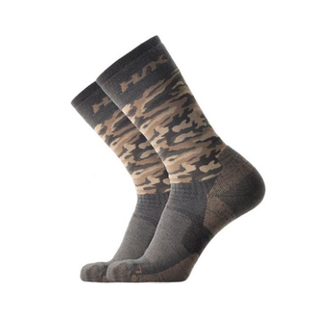 登山休閒運動美麗諾羊毛襪(中性款) 綠迷彩 S