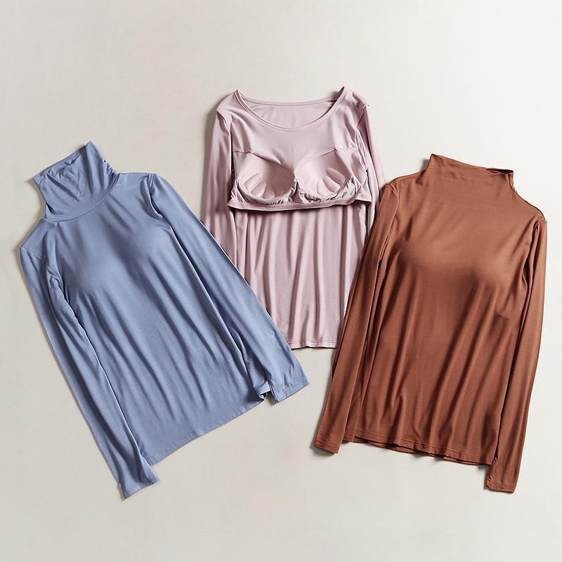 帶胸墊長袖T恤女秋冬款莫代爾外穿上衣純色半高領打底衫秋衣睡衣