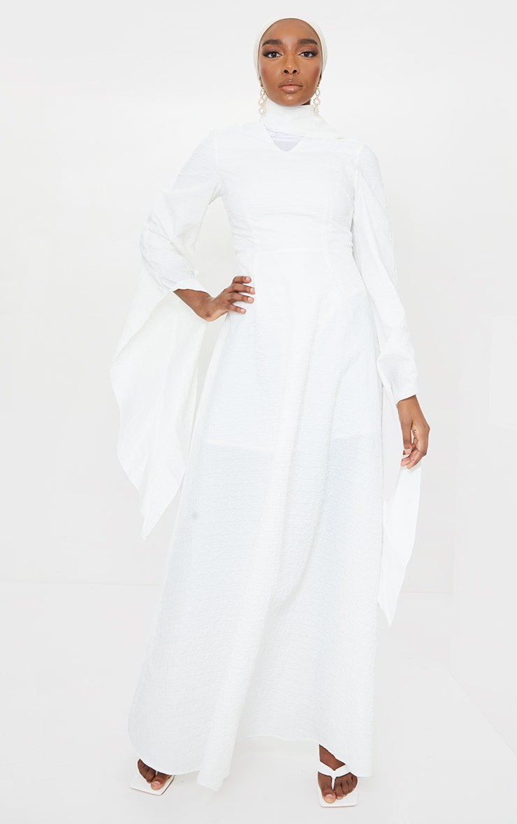 White Textured High Neck Dress with Hijab