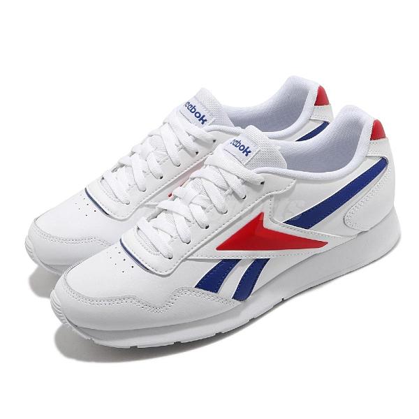 【海外限定】Reebok 休閒鞋 Royal Glide 白 藍 紅 男鞋 小白鞋 皮革 運動鞋 百搭款【ACS】 FW6706