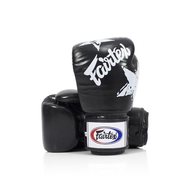 『VENUM旗艦館』14oz Fairtex 健身房拳擊手套~重擊打沙袋拳套~真皮拳套 - 國旗星星款 黑色 BGV1