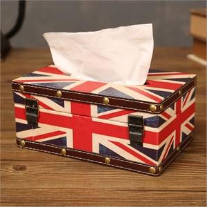 PUSH! 居家生活用品英倫風紙巾盒面紙盒短款米字旗I12