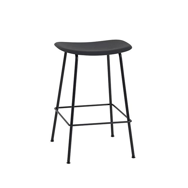 Muuto Fiber SH65cm 木纖系列 中島椅 / 高腳椅 - 無背靠款 金屬椅腳(黑色椅身 - 黑色金屬椅腳)
