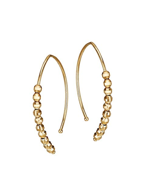 14K Yellow Gold Bead Small Marquise Hoop Earrings