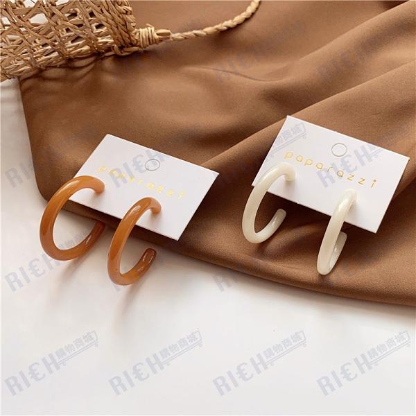 S925銀針 韓國氣質簡約復古設計感c形圓圈耳環超仙少女耳釘