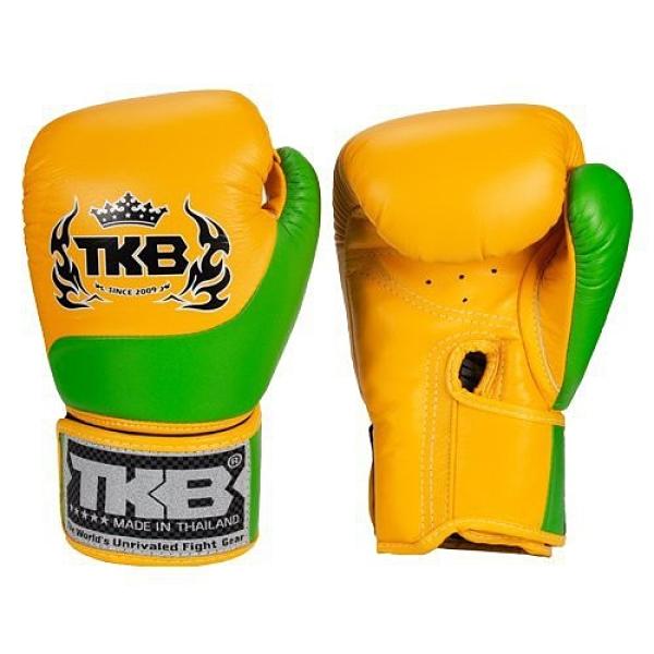 『VENUM旗艦館』10oz TOP KING 泰國名牌拳擊手套 真皮手工拳套 雙色拳套 -TKB-QT-SS2 黃綠色