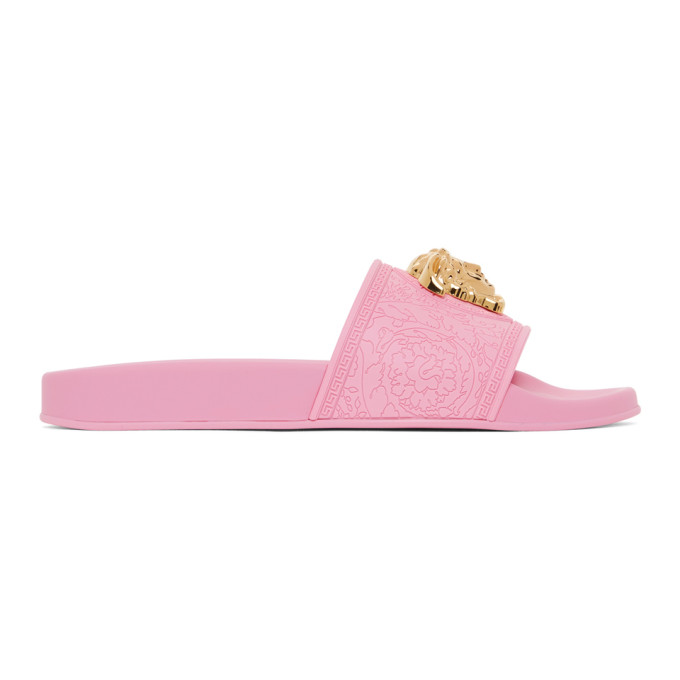 Versace 粉色 Palazzo 拖鞋
