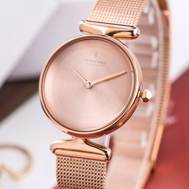【Nordgreen】ND手錶 Unika 獨特 28mm 玫瑰金殼×磨砂金屬面 玫瑰金米蘭錶帶(UN28RGMEROBM)