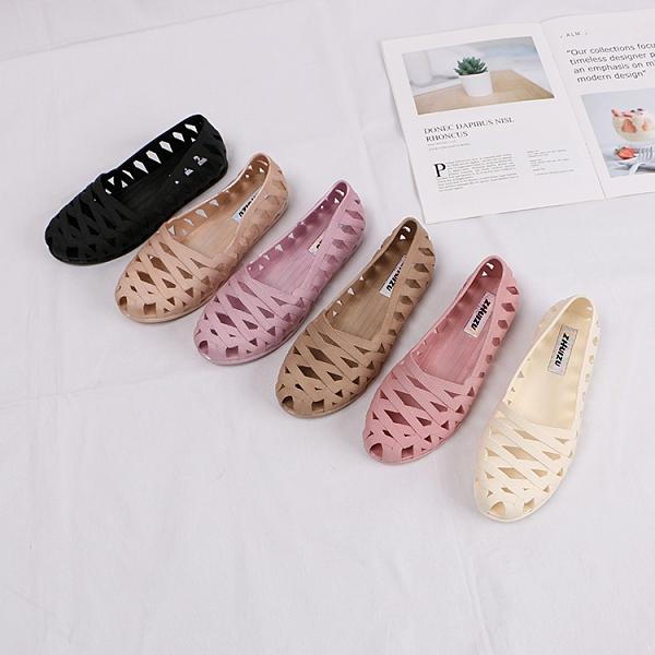 洞洞鞋 百搭包頭平底涼鞋女夏季淺口媽媽鏤空透氣塑膠洞洞鞋【快速出貨八折鉅惠】