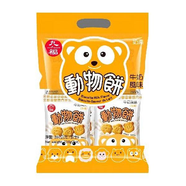 九福動物餅 (牛奶風味)200g【愛買】
