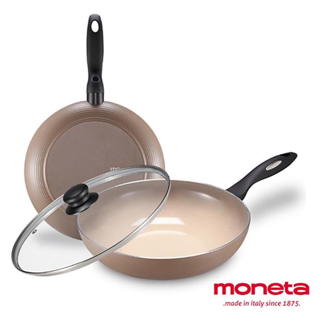 免運 義大利MONETA 范格斯系列雙鍋組(炒鍋+平底鍋+鍋蓋)28cm
