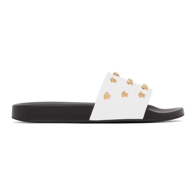 Versace 白色 Medusa Stud 皮革拖鞋