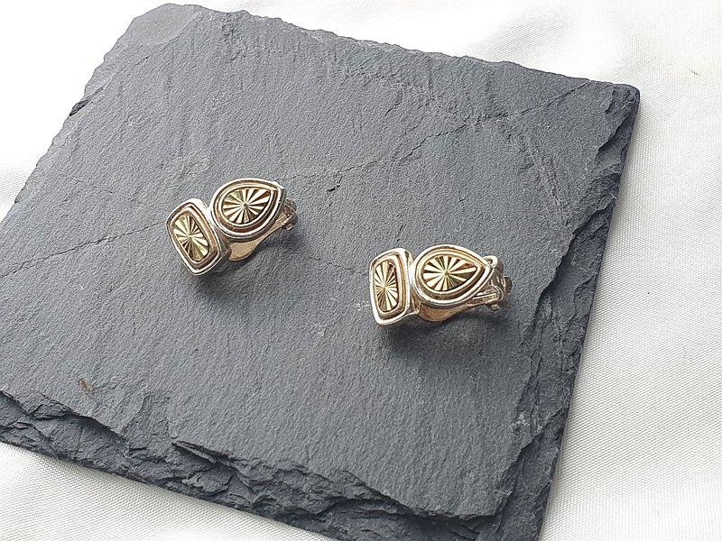 【美國帶回 西洋古董飾品】1960年代美國飾品 典雅花紋 夾式耳環