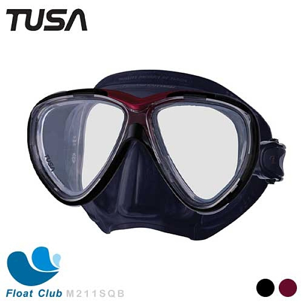 【TUSA】Freedom One Pro 抗UV 雙面鏡 成人款雙面鏡 浮潛面鏡 自由潛水鏡 黑 / 黑紅 M211SQB 原價2950元