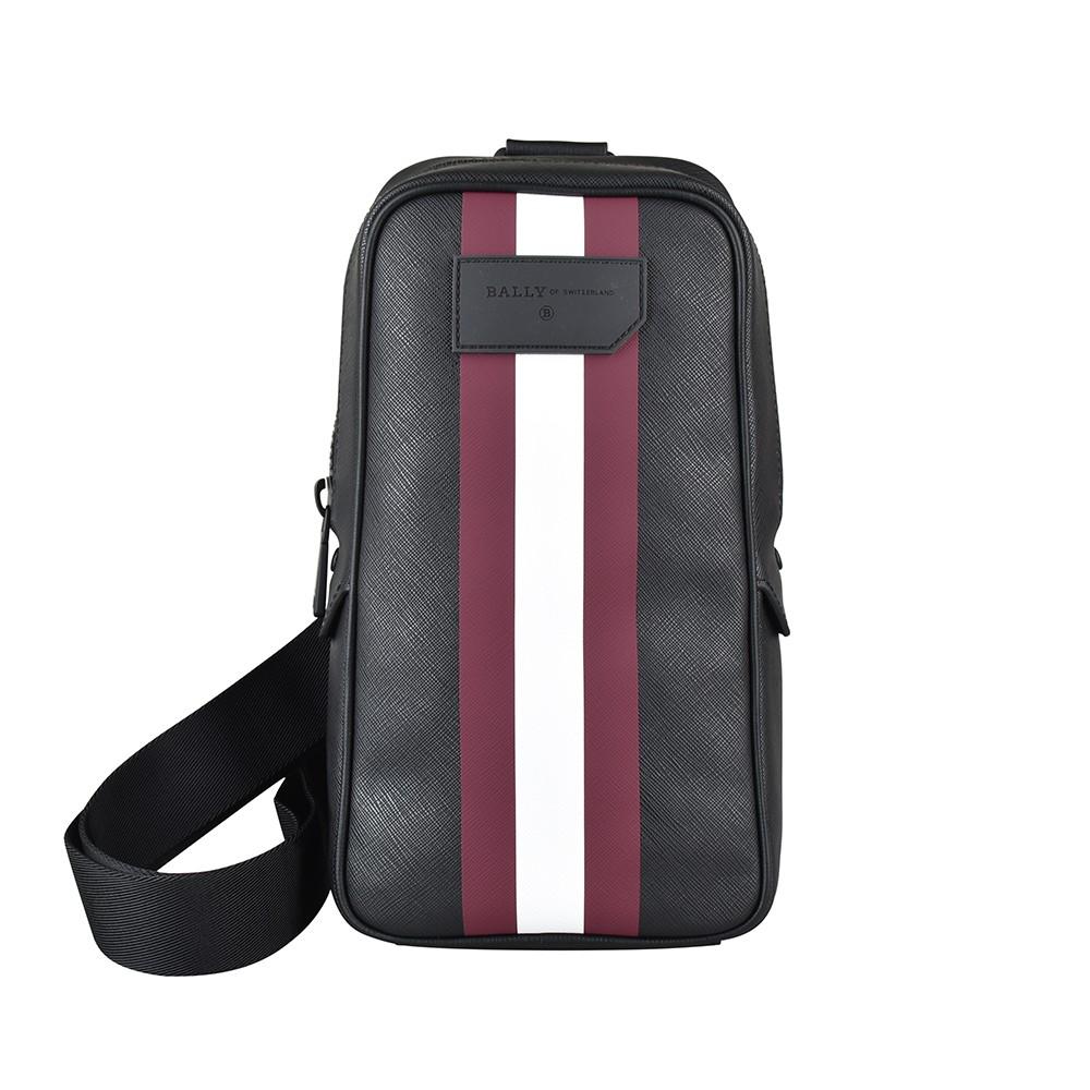 BALLY TANIS壓印LOGO防刮PVC拉鍊胸掛包(黑x紅白條紋)