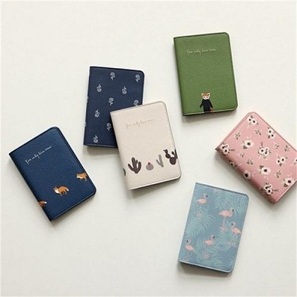 韓版可愛小清新動植物花卉旅行護照夾 短款護照套 證件包 機票夾