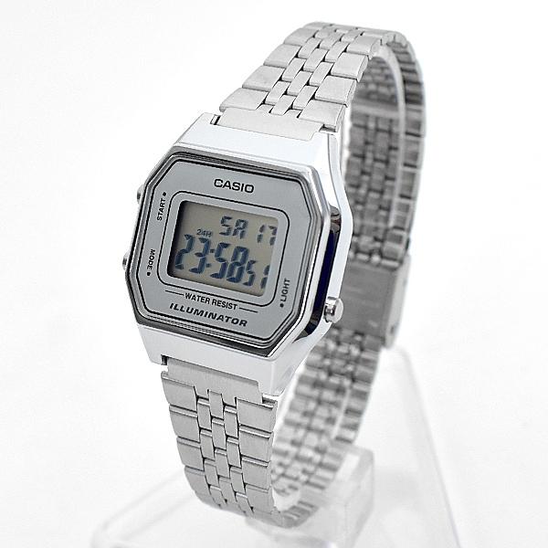 CASIO手錶 復古方框銀色電子錶NECA11