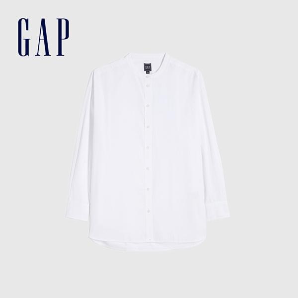 Gap女裝 純棉寬鬆式圓領長袖襯衫 660950-白色