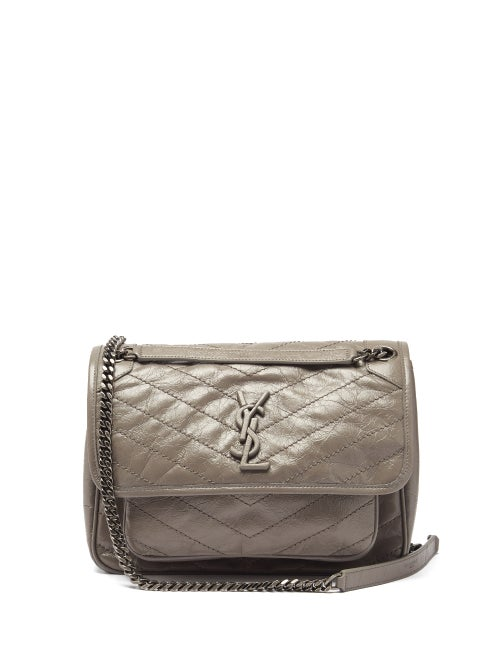 Saint Laurent - Niki Medium Ysl-plaque Leather Shoulder Bag - Womens - Grey