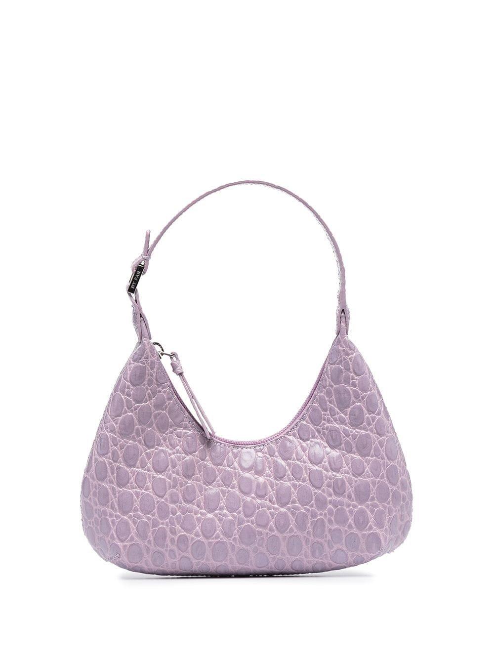 Shoulder Bag in Lilac Crocodile Print Leather