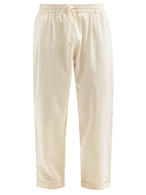 Péro - Drawstring Hand-woven Linen Trousers - Mens - Cream