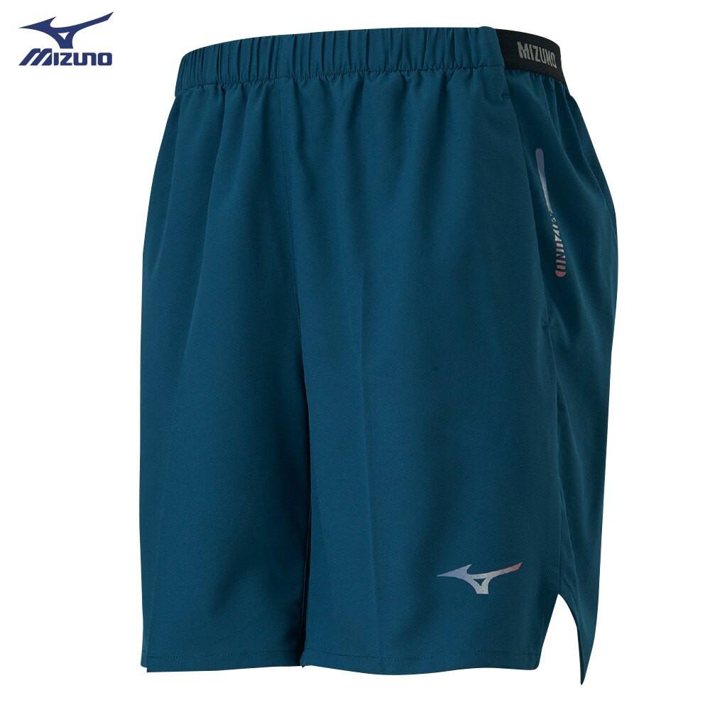 MIZUNO 男裝 短褲 慢跑 路跑 單層 後中拉鍊口袋 反光燙印 藍綠【運動世界】J2TB105232