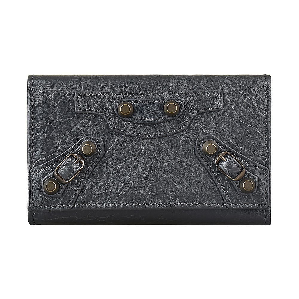 BALENCIAGA 巴黎世家仿舊銅釦設計小羊皮六鉤三折釦式鑰匙包(深灰)